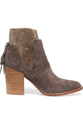 Sigerson Morrison Suede Ankle Boots Gray Green