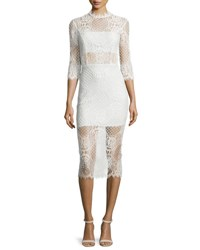 Alexis Miller 3 4 Sleeve Lace Midi Dress Ivory