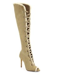 Schutz Grazianna Suede And Shearling Lace Up Boots Brush Sand Cream Black