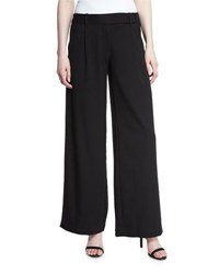 Max Studio Twill Wide Leg Boot Cut Pants Black