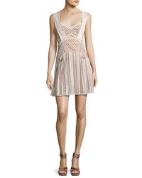 Self Portrait Avery Lace A Line Mini Dress Cream