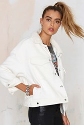 Nasty Gal Manda Shearling Jacket White