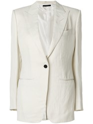 Tom Ford Classic Fitted Blazer Viscose Linen Flax Cupro Silk White