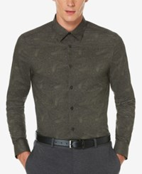 Perry Ellis Men's Big And Tall Exclusive Gothic Paisley Print Shirt Brown