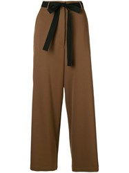 Hache Belted Palazzo Trousers Brown
