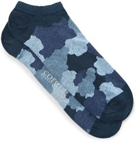 Corgi Camouflage Print Cotton Blend Socks Blue