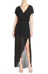 Women's Rory Beca 'Plaza' Faux Wrap Silk Georgette Cutaway Gown Onyx