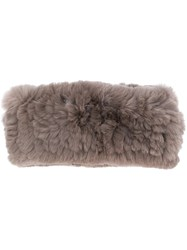 Yves Salomon Rabbit Fur Headband Grey
