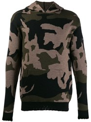 John Richmond Camouflage Knitted Hoodie Green