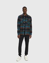 Obey Homebound Woven Flannel Shirt In Black Forest Multi