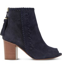 Dune Primrose Suede Peep Toe Ankle Boots Navy Suede