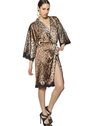 Dolce And Gabbana Lace On Printed Leopard Satin Robe