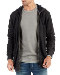 True Religion Coated Moto Hoodie W Back Logo Charcoal