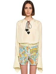 Lanvin Silk Satin Shirt W Padded Heart Details Light Yellow