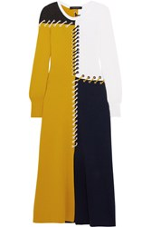 Cedric Charlier Color Block Whipstitched Wool And Cashmere Blend Midi Dress Navy