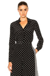 Stella Mccartney Silk Polka Dot Blouse In Black Stripes Geometric Print Black Stripes Geometric Print