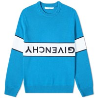 Givenchy Reverse Logo Cotton Crew Knit Blue