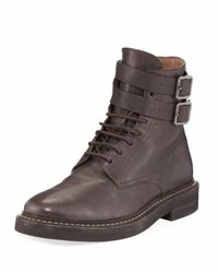 Brunello Cucinelli Buckle Strap Leather Hiking Boot Brown