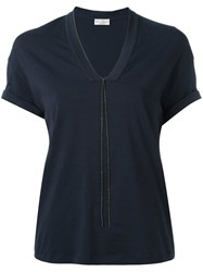 Brunello Cucinelli V Neck T Shirt Blue