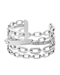 Cityscape Stacked Chain Cuff Bracelet Michael Kors Silver