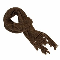 40 Colori Brown Double Threaded Hand Fringed Wool Scarf