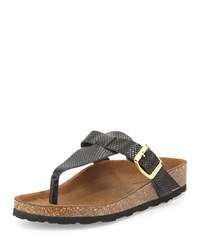 Neiman Marcus Made In Italy Christie Snake Embossed Thong Sandal Black