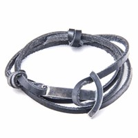 Anchor And Crew Coal Black Clipper Leather Silver Bracelet