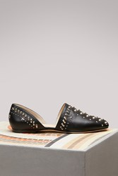 Jimmy Choo Globe Nappa Flats With Punk Studs Black
