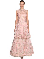 Luisa Beccaria Embroidered Tulle Organza Dress Pink