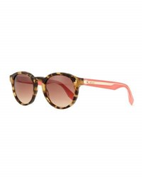 Fendi Round Contrast Arm Sunglasses Brown Pink Brown Pink