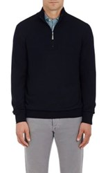 Barneys New York Men's Virgin Wool Mock Turtleneck Zip Front Sweater Navy
