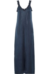 Opening Ceremony Sophie Ruffled Washed Satin Jumpsuit Midnight Blue