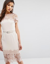 Paper Dolls Cap Sleeve Midi Dress With Lace Detail Mink Beige Pink