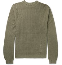 Kapital Oversized Distressed Ribbed Cotton And Linen Blend Sweater Army Green