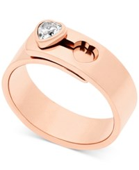 Michael Kors Crystal Heart Faux Clasp Statement Ring Rose