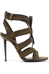 Tom Ford Pleated Satin Sandals Army Green