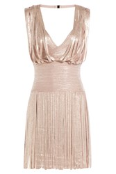 Herve Leger Metallic Dress With Bandage Paneling And Pleated Skirt Rose
