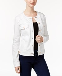 Inc International Concepts Petite Frayed Trucker Jacket Only At Macy's White