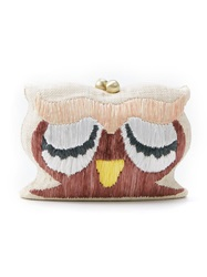 Serpui Owl Woven Clutch Nude And Neutrals