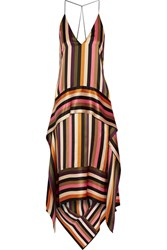Petar Petrov Asymmetric Striped Silk Satin Midi Dress Black