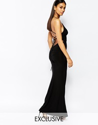Club L Cami Slinky Maxi Dress With Ruched Detail Back Black