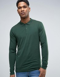 New Look Long Sleeve Polo In Dark Green Dark Green