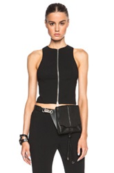 T By Alexander Wang Suiting Criss Cross Back Zip Top In Black
