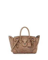 Ralph Lauren Ricky 27 Embroidered Suede Satchel Bag Taupe