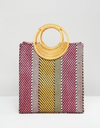 Asos Design Stripe Straw Mini Shopper Bag With Bamboo Handle Multi