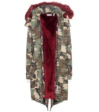 Off White Faux Fur Lined Printed Parka Multicoloured