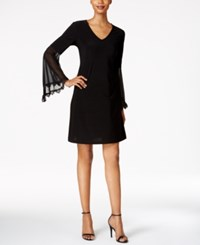Msk Illusion Bell Sleeve A Line Dress Black