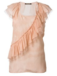 Roberto Cavalli Ruffle Detail Top Pink And Purple