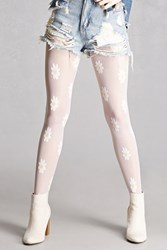 Forever 21 Sheer Daisy Applique Tights White