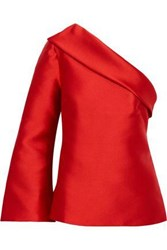 Brandon Maxwell Woman One Shoulder Duchesse Satin Top Red